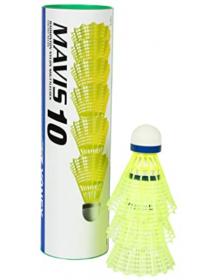 Yonex Mavis 10 Nylon Shuttles (3 Stück, gelb/weiss)