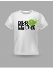 "Friendsracket T-Shirt ""Kiss My Ace"" (weiss)"