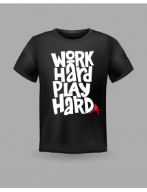 "Friendsracket T-Shirt ""work hard play hard"" (schwarz)"