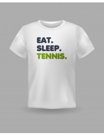 "Friendsracket T-Shirt ""eat. sleep. tennis."" (weiss)"